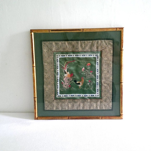 Embroidered Hen and Rooster on Silk Asian Textile